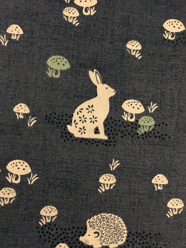 dark grey rabbit and toadstool design