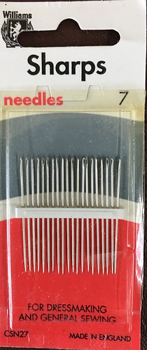 Dressmaking Sharp Needles size 7 by Williams