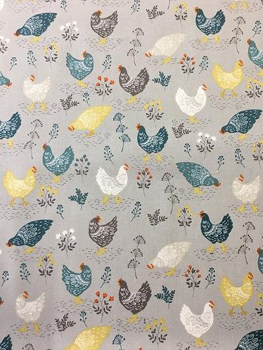 Makower Clara - Chickens grey