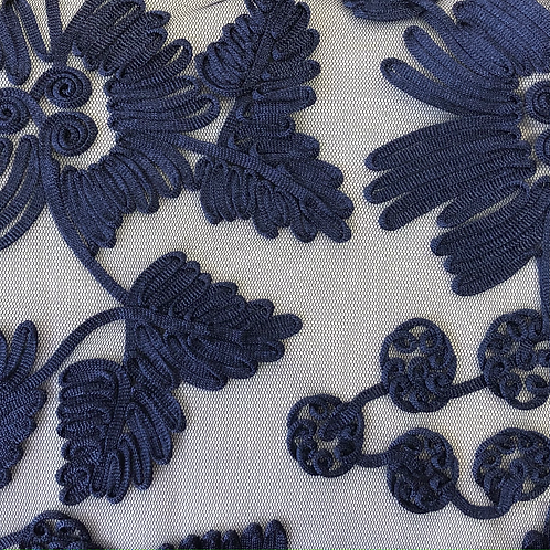 ribbon stitched lace voile - navy