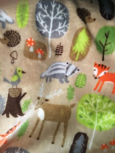 Supersoft fleece, beige with woodland creatures
