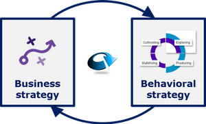 Reinforcing circle between behavioral strategy and business strategy