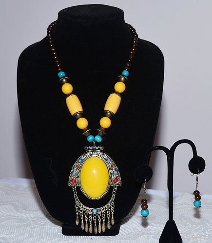Yellow & Blue Necklace/Earring Set