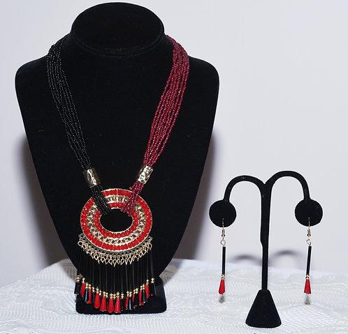 Burgundy & Black Necklace & Earring Set