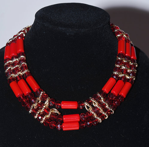 Royalty Red Necklace & Earring Set