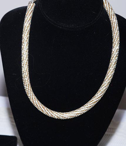 Gold-tone & Rhinestone Necklace