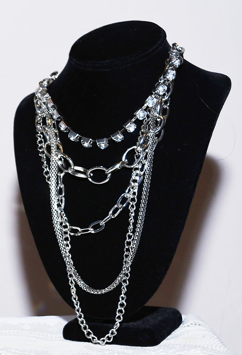 (Five) Layer Silver Chain Necklace