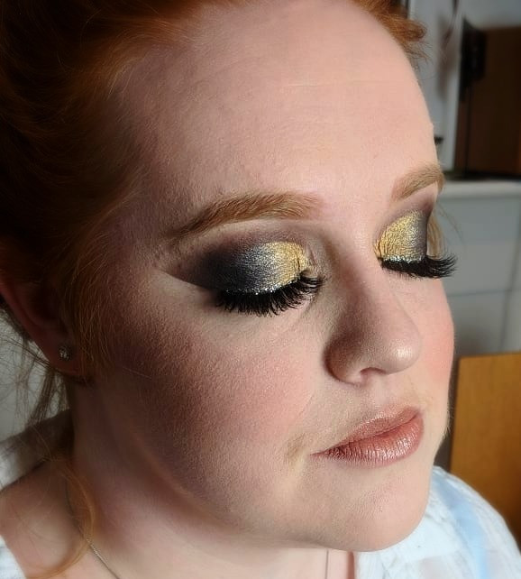 silver and gold glam eye makeup