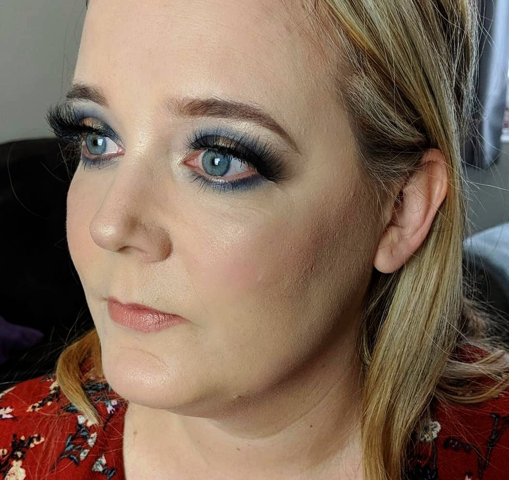 party makeup gold and blue