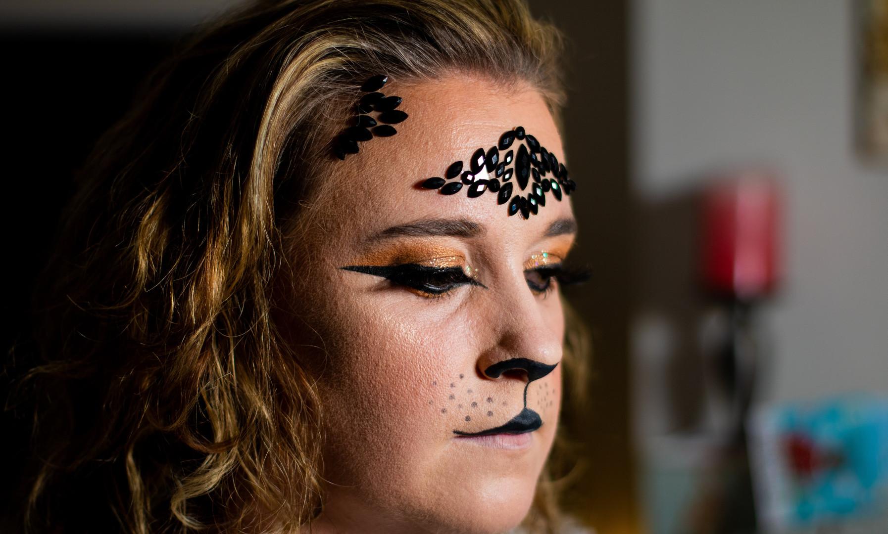 Glam lion fancy dress makeup