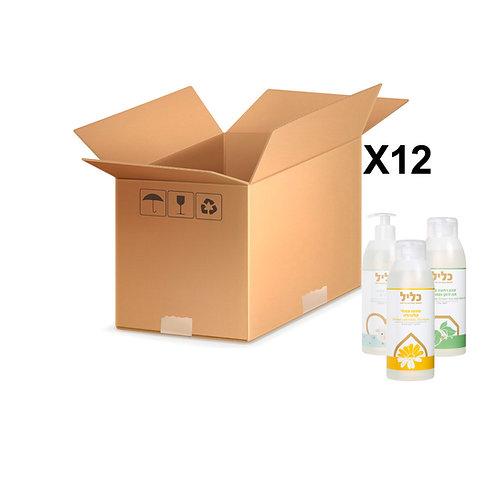 לארגז 12 יחידות (שמפו/סבון רחצה/ מרכך) של כליל לבחירתך