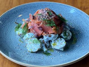 Salade de PDT confites et saumon fumé