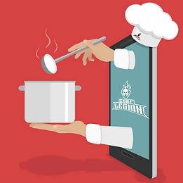 Celular 3d con manos saliendo cocinero.j