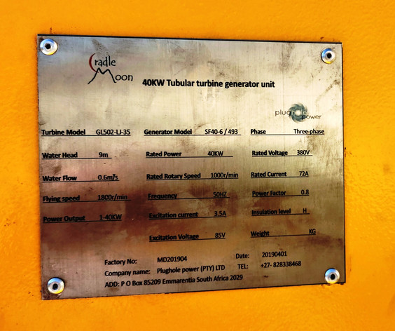 40 kW tubular turbine at Cradle Moon