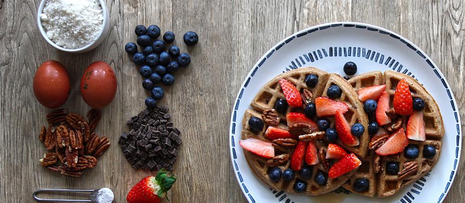 Low-carb chocolate-pecan waffles