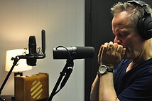Harmonica player Bruce Andrews in the studio with Birmingham Music Producer Ben Trexel