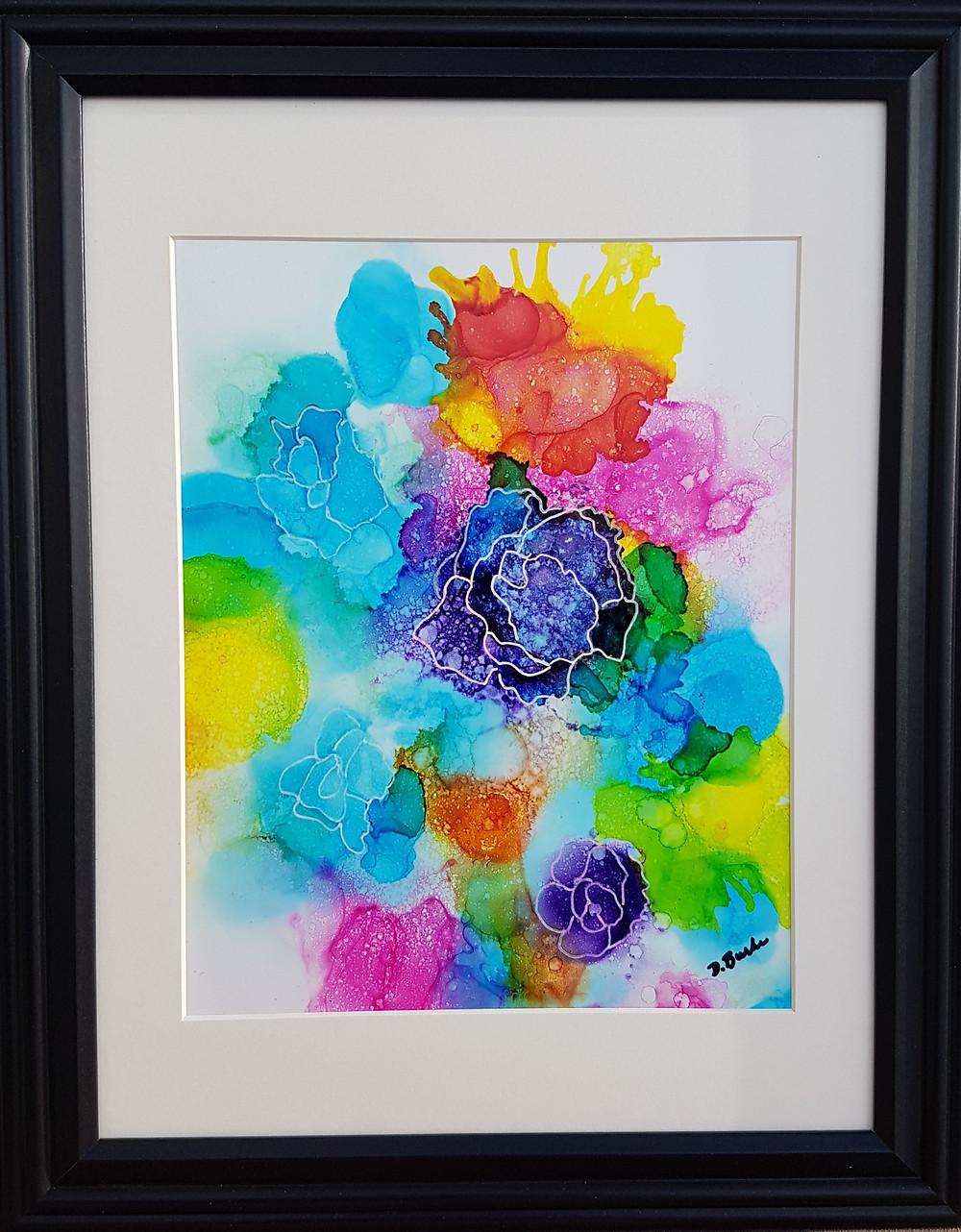 """Blossom Where You Are"", Alcohol Ink 10"" x 13"", framed"