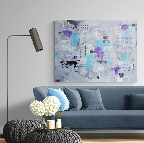 """""""Vanishing Dimension""""  Abstract Acrylic 48"""" x 36"""" on Gallery Style Canvas"""