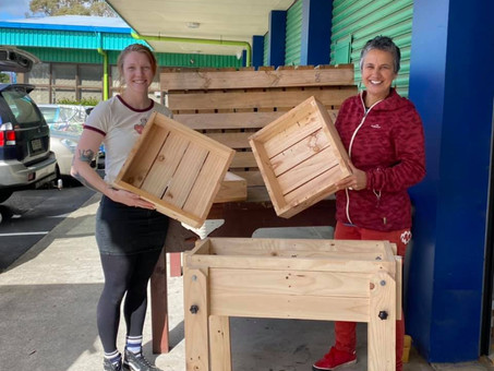 Boomer Shed members create planters from dumped pallets
