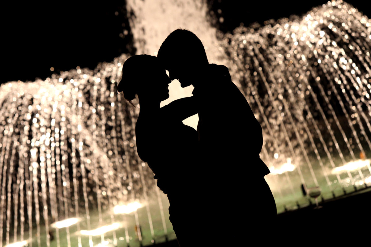 Romantic Wedding Couple at night