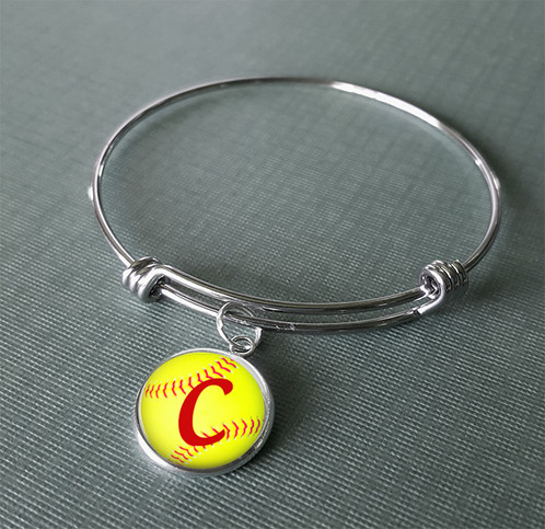 Personalized Monogram Softball Image 16mm Charm Hangs On A Shiny Silver Tone Rhodium Plated With Color Protection For Maximum Durability Adjule