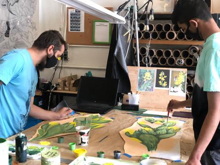 Justin Painting Foliage with Vijay