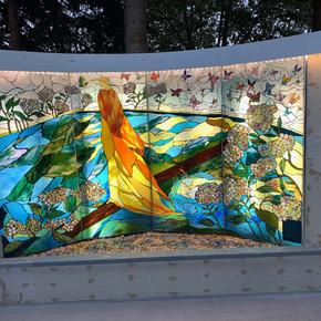 Judy Sousa Mosaic Fountain Lit Up
