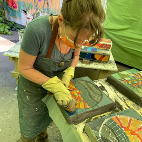 Working on Mosaic Stepping Stones