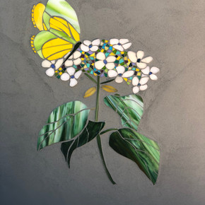 Flower and butterfly mosaic