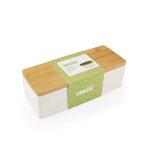 Urban Greens Mustard Sprout Kit in white porcelain planter
