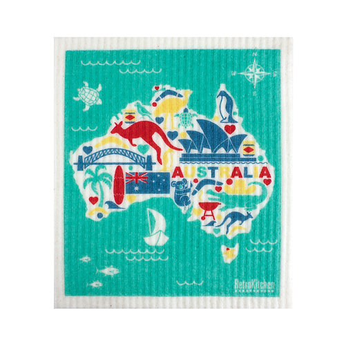 RetroKitchen compostable sponge cloth - Australia Map