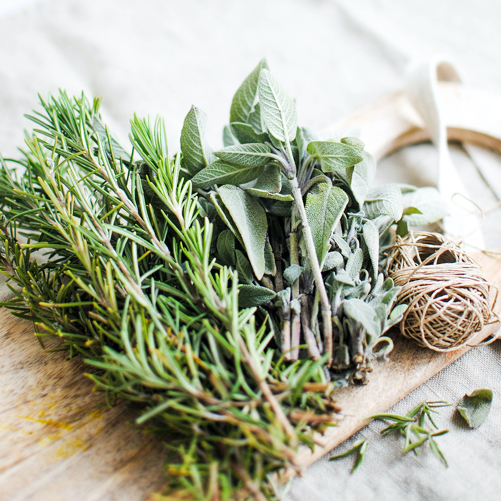 Sage and other herbs for making a smudge stick