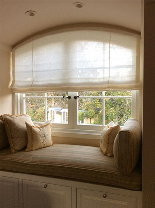 Sheer Soft Roman Shade in Arched Window