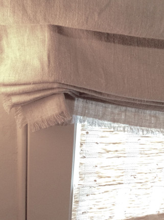 Self-fringed side and bottom hems. Created with Magnolia Lane's CNC #600N, Tuscany/ Natural, 100% Linen.