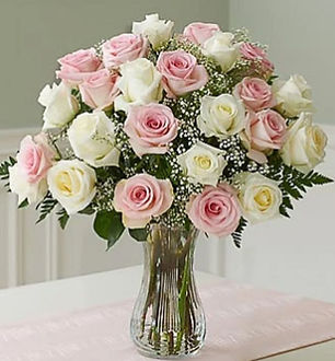 Two Dozen Long Stem Pink & White Roses.j