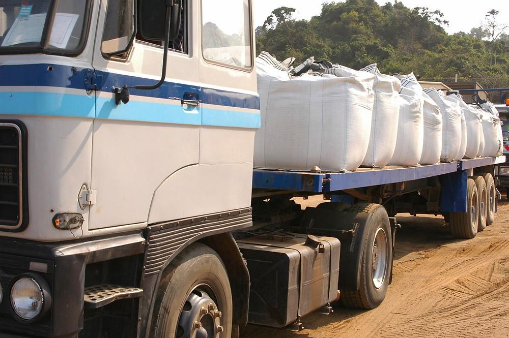 flatbed hauler with super sacks
