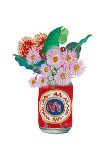 Red can with flowers