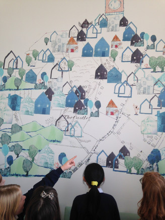 The prints are entwined with sections of the 1903 ordnance survey map of the area and reflects Cossham Hospital's identity within the local community, as seen through the schoolchildren's eyes.