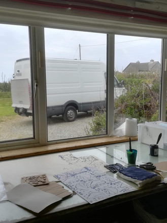 Print Van Go at the Connemara studio of Margaret Irwin West:  Aoife Barrett shared her plans for developing mobile printing cases which included modifying a pasta maker to make a mini printing press.