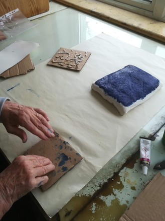 Margaret Irwin West shared a printmaking technique she had used to explore pattern with a large group of Indian school children