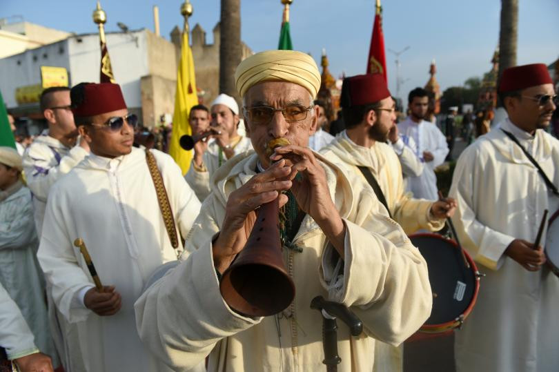 Traditionally dressed Moroccan men take part in a parade in Sale, marking the anniversary of the birthday of Islam's Prophet Mohammed on Dec. 23, 2015. PHOTO: FADEL SENNA/AFP/GETTY IMAGES