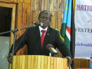 South Sudan's vice-president, James Wani Igga, speaks at the opening of the national reconciliation and peace conference in Wau on 2 September 2014 (ST)
