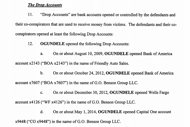 Some of the bank accounts listed in the indictment(US District Court, Maryland)