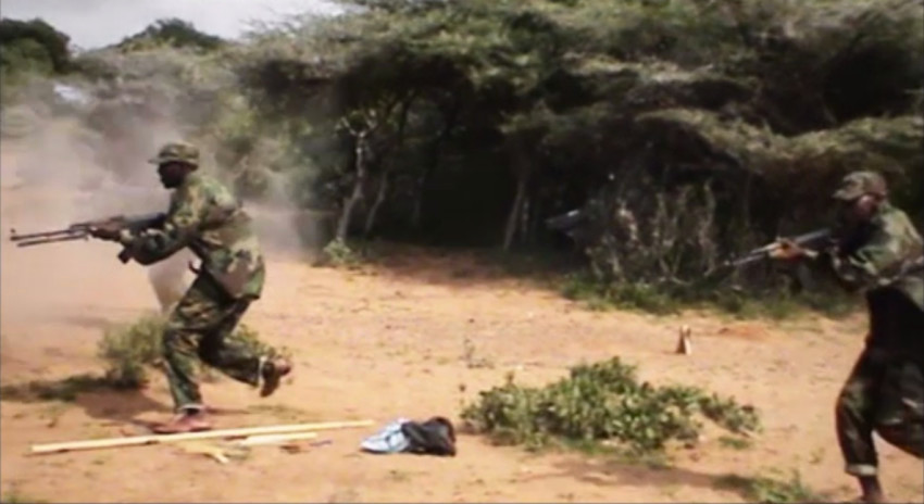 Shabaab fighters train for a suicide assault. Image from a Shabaab video released in January 2015.