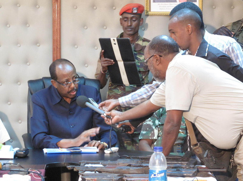 Mohamud Saleh, shown here during a recent interview, built his reputation by greatly reducing crime in a lawless part of northeastern Kenya in the 1990s. After an absence of more than a decade, he's returned to battle terrorism, and argues that the same tactics will work this time as well. Gregory Warner/NPR