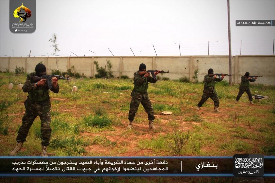 Ansar al Sharia recruits receive training at a camp near Benghazi.