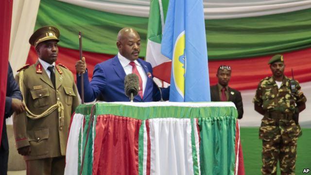 Burundi's President Pierre Nkurunziza is sworn in for a third term at a ceremony in the parliament in Bujumbura, Burundi, Aug. 20, 2015.