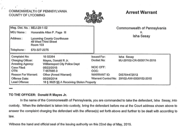 Isha Sesay's arrest warrant