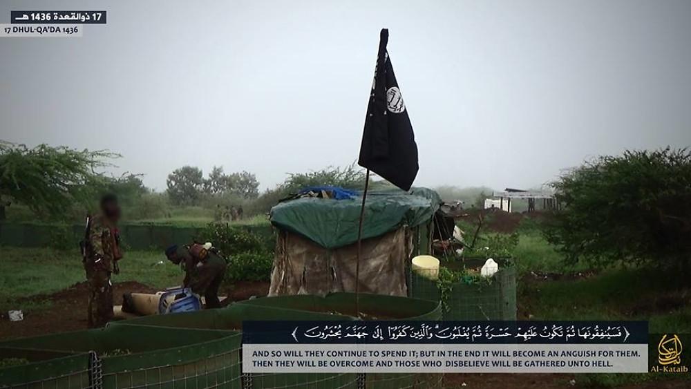 Shabaab's flag flies in the AMISOM base