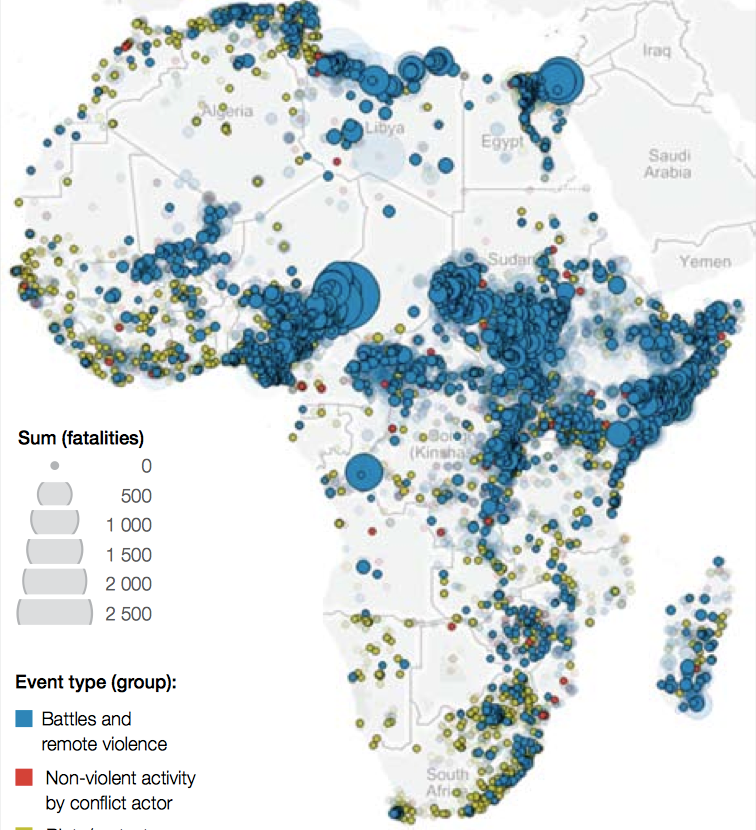 politically violent events in Africa from January 2008 – August 2015 Source: ACLED version 5, All Africa 1997 – 2014, www.acleddata.com/data/version-5-data-1997-2014, updated with Realtime data to 3 September 2015, www.acleddata.com/data/realtime-data-2015 (both accessed 13 September 2015). ACLED gathers data in nine event types that have been collapsed into three event types in this figure.